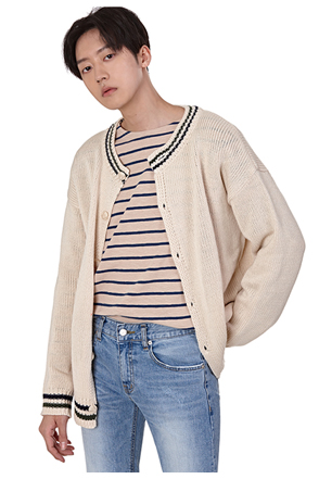 Stripe Accent Button-Down Cardigan