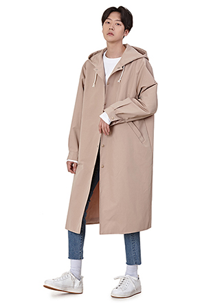 Hooded Snap Button Coat