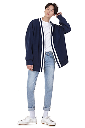 Stripe Accent Loose Fit Jacket