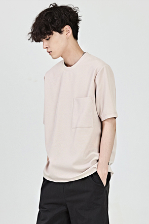 Square Chest Pocket Solid Tone T-Shirt