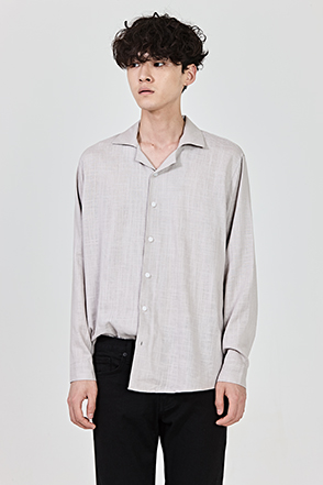 Loose Fit Convertible Collar Button-Down Shirt