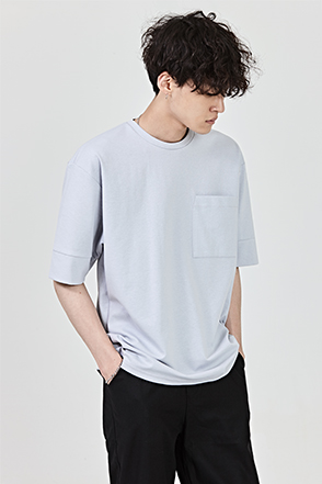 Square Chest Pocket Elbow Sleeve T-Shirt