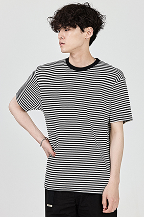 Contrast Tone Crew Neck Striped T-Shirt