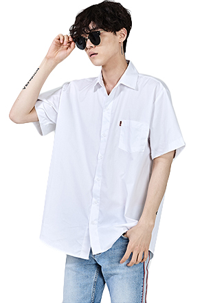 Loose Fit Half Sleeve Button-Down Shirt