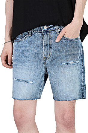 Distressed Faded Denim Shorts