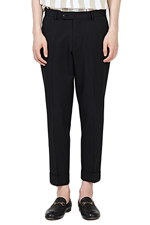 Folded Ankle Tapered Leg Trousers