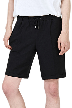Folded Hem Drawstring Waist Shorts