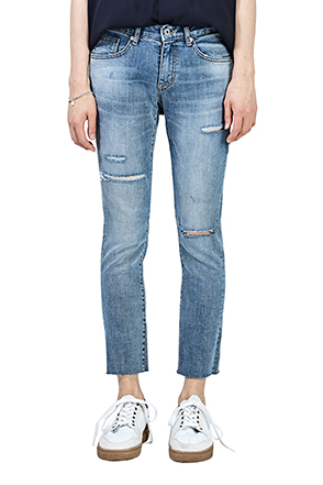 Ripped Whisker Wash Ankle Grazer Jeans