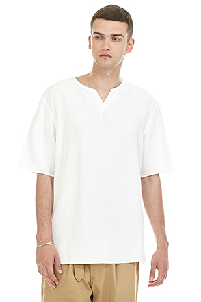 Split Neck Elbow Sleeve T-Shirt