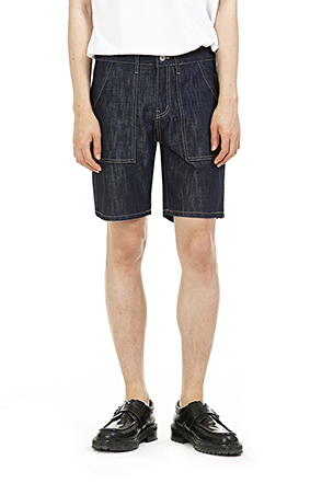 Contrast Stitch Dark Wash Jean Shorts