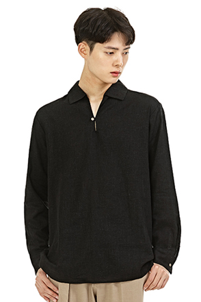Buttoned Collar Long Sleeve Shirt