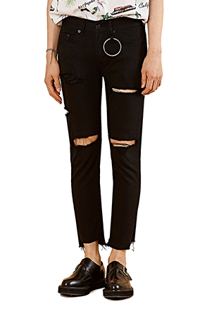 Ripped Solid Tone Ankle Grazer Pants