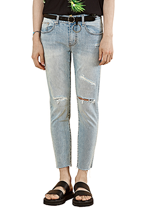 Light Wash Slim Fit Ripped Jeans