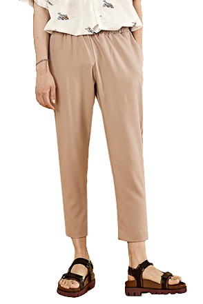 Basic Cropped Pull-On Trousers