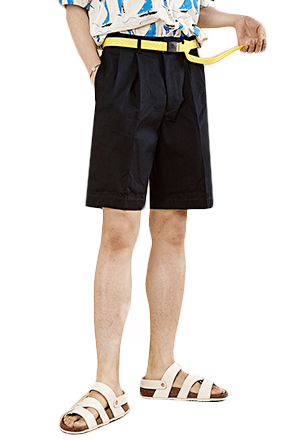 Strip Accent Folded Hem Shorts