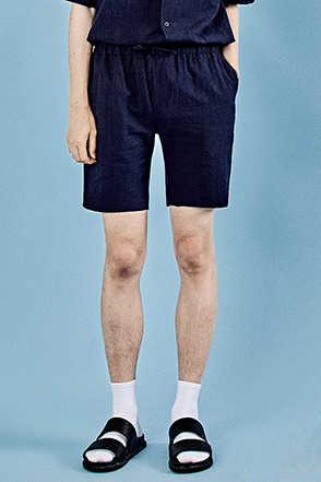 Basic Drawstring Waist Textured Shorts