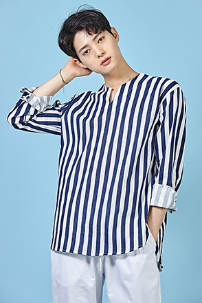 Split Neck Awning Stripe Shirt