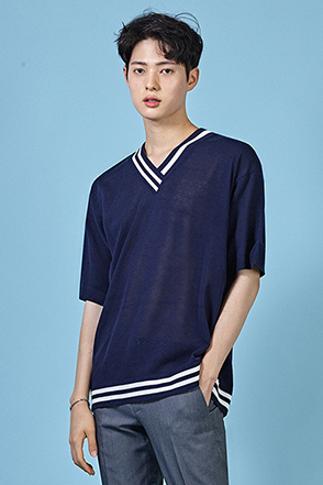 Striped Neck and Hem T-Shirt
