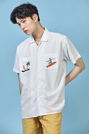 Summer-Themed Pocket Embroidery Shirt