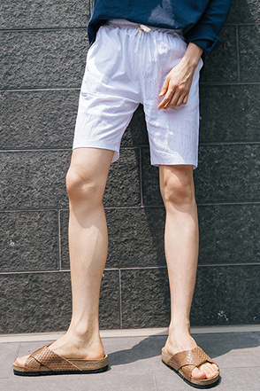 Basic Drawstring Cotton Shorts