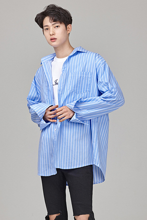 Loose Fit Striped Button-Up Shirt