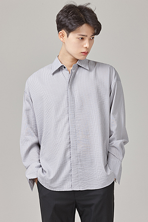 Concealed Button Dress Stripe Shirt