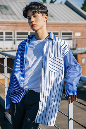 Mixed Stripe Loose Button-Up Shirt