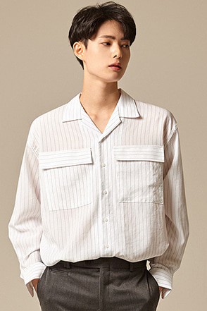 Flap Chest Pocket Stripe Button-Down Shirt