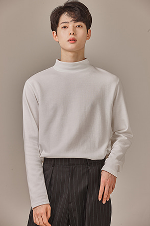 Classic Mock Neck Long Sleeve T-Shirt