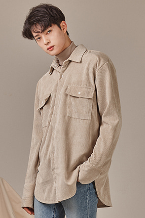 Flap Chest Pocket Corduroy Shirt