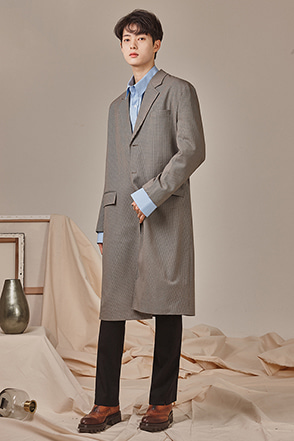 Knee-Length Check Coat