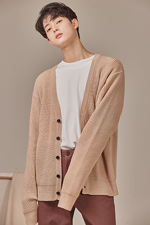 Deep V-Neck Knit Cardigan