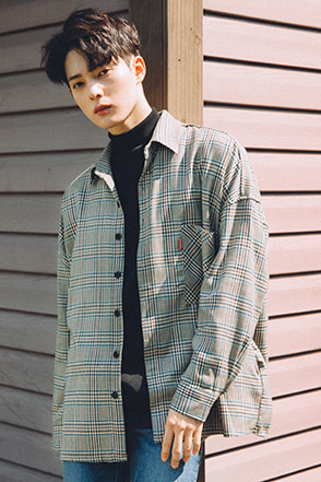 Drop Shoulder Check Button-Down Shirt