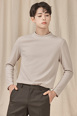 Ribbed Mock Neck T-Shirt