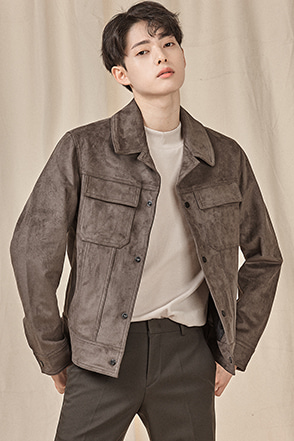 Notched Collar Snap Button Jacket