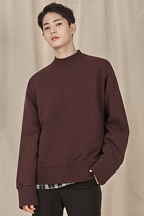 Wide Cuff and Hem Mock Neck Sweatshirt