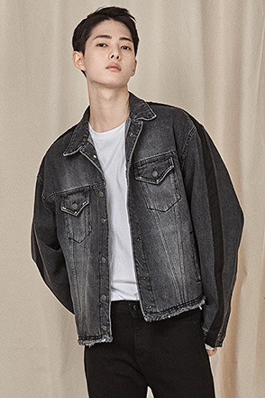 Sleeve Panel Accent Denim Jacket