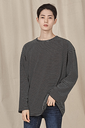 Pencil Stripe Drop Shoulder T-Shirt