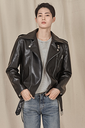 Belted Hem Zip Up Biker Jacket