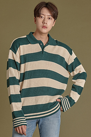 Two-Button Collar Striped Shirt