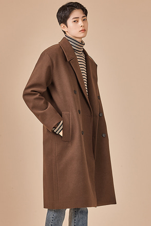 Double-Breasted Wool Blend Overcoat