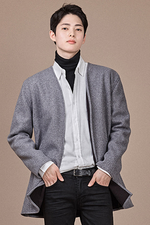 Collarless Open Front Jacket