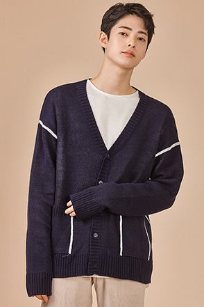Contrast Line Accent Cardigan