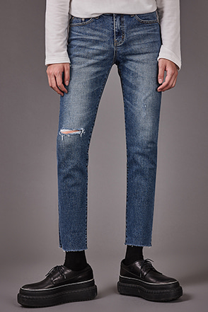Rip Accent Tapered Leg Jeans