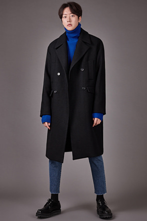 Notch Collar Double-Breasted Coat