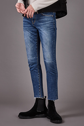 Slash Accent Raw Hem Jeans