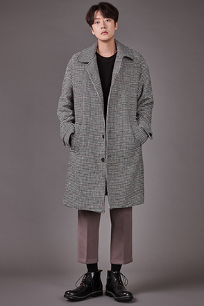 Front Button Houndstooth Coat