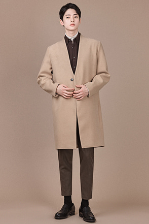 Single Button Collarless Coat
