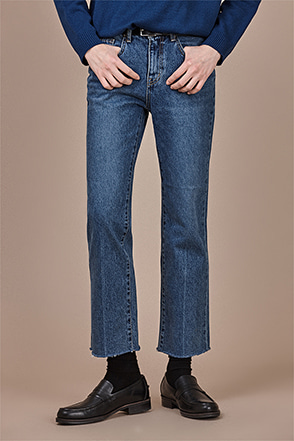 Whiskered Straight-Leg Jeans