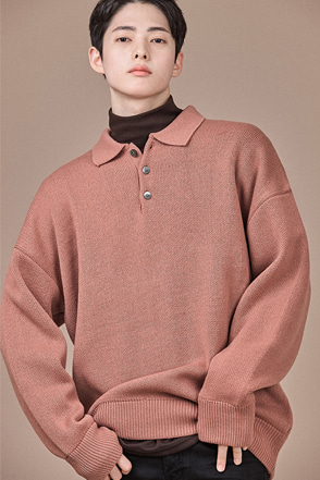 Knit Long Sleeve Polo Shirt